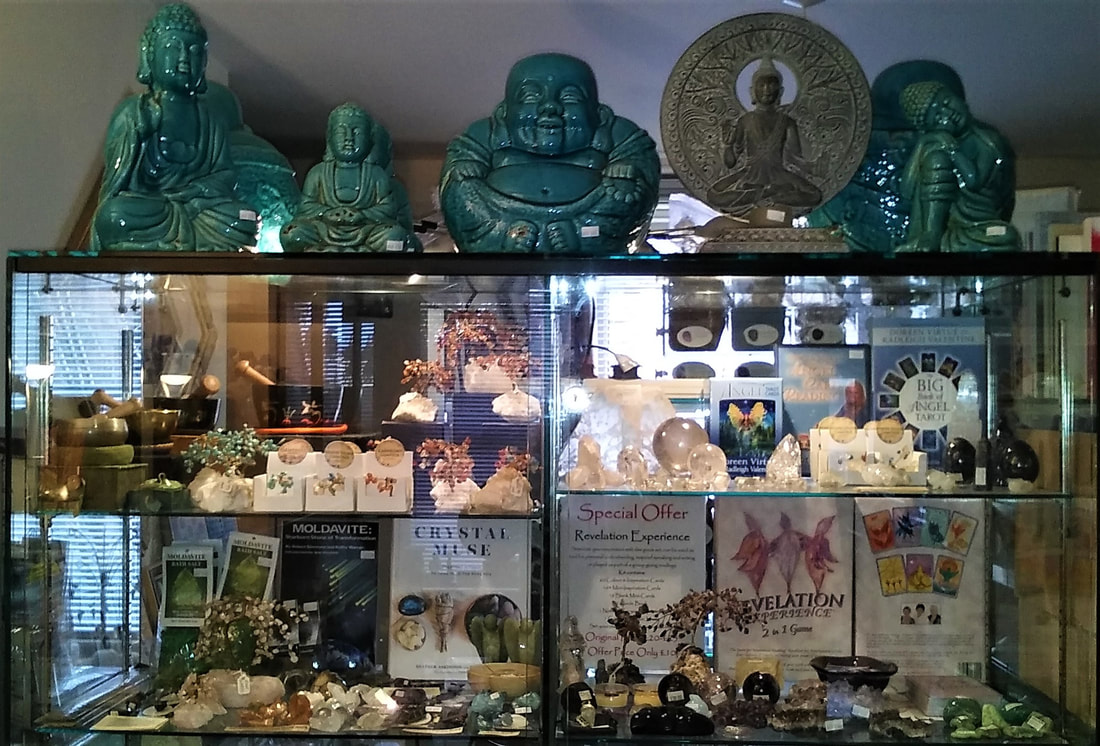 Buddha Statues, Gemstone Cabinet with Gemstone Trees, Singing Bowls & Jewellery  - Mind-Body-Spirit