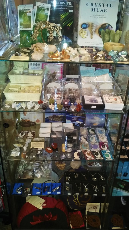 Gemstone Cabinet with Gemstone Trees, Singing Bowls, Meditation Cushions & Jewellery  - Mind-Body-Spirit